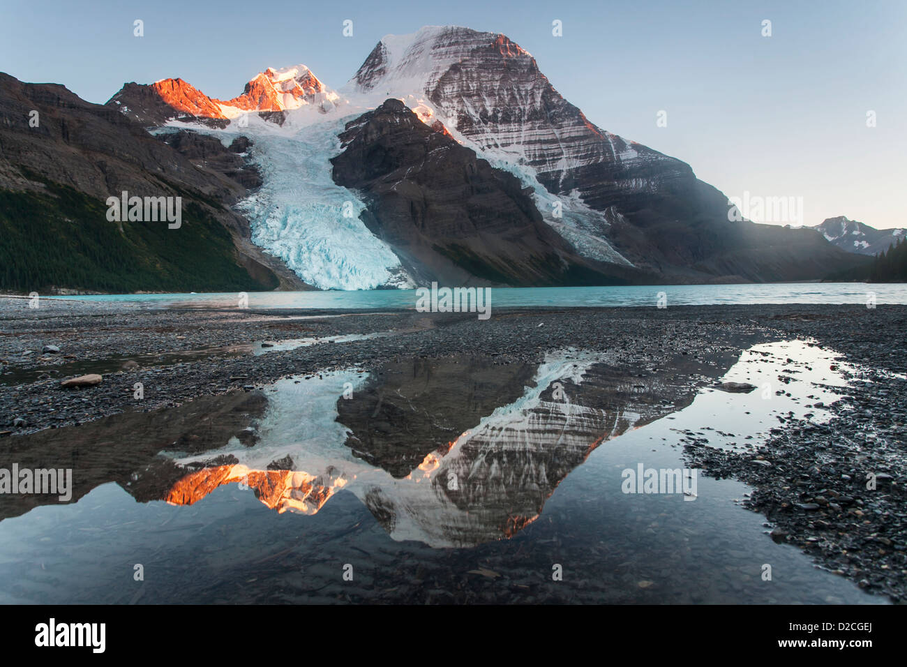 Mount Robson reflected in a pool near Berg Lake, Robson Provincial Park, Canadian Rockies, British Columbia, Canada. Stock Photo