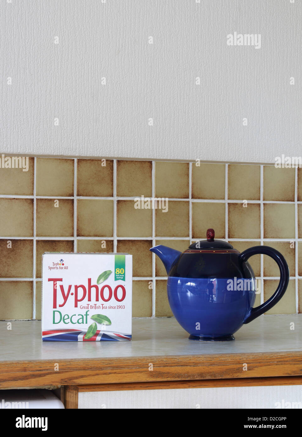 Packet of Ty-phoo Tea with Teapot in a Kitchen Setting, UK - Stock Image