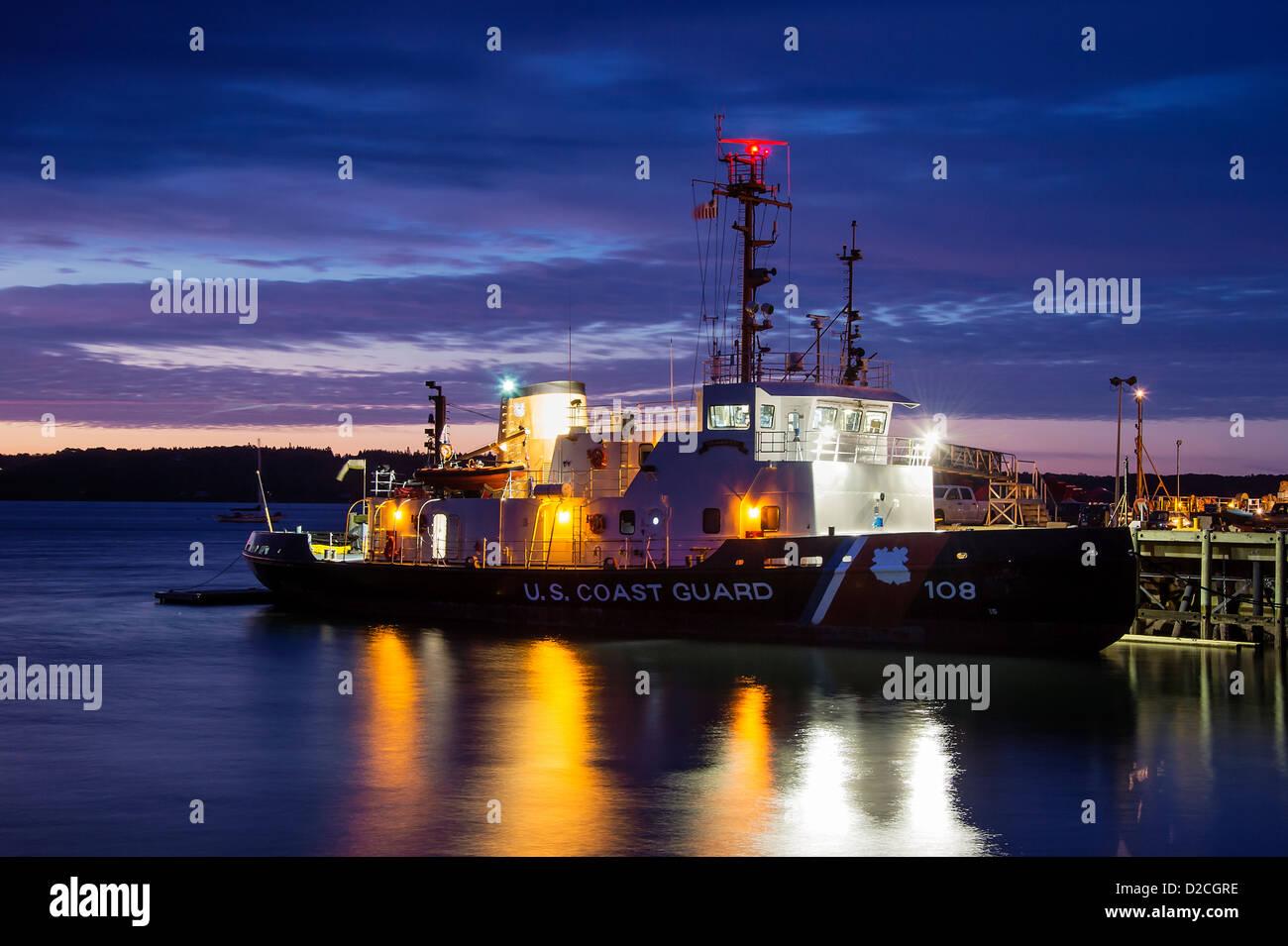 US Coast Gaurd cutter, Rockland, Maine, USA - Stock Image