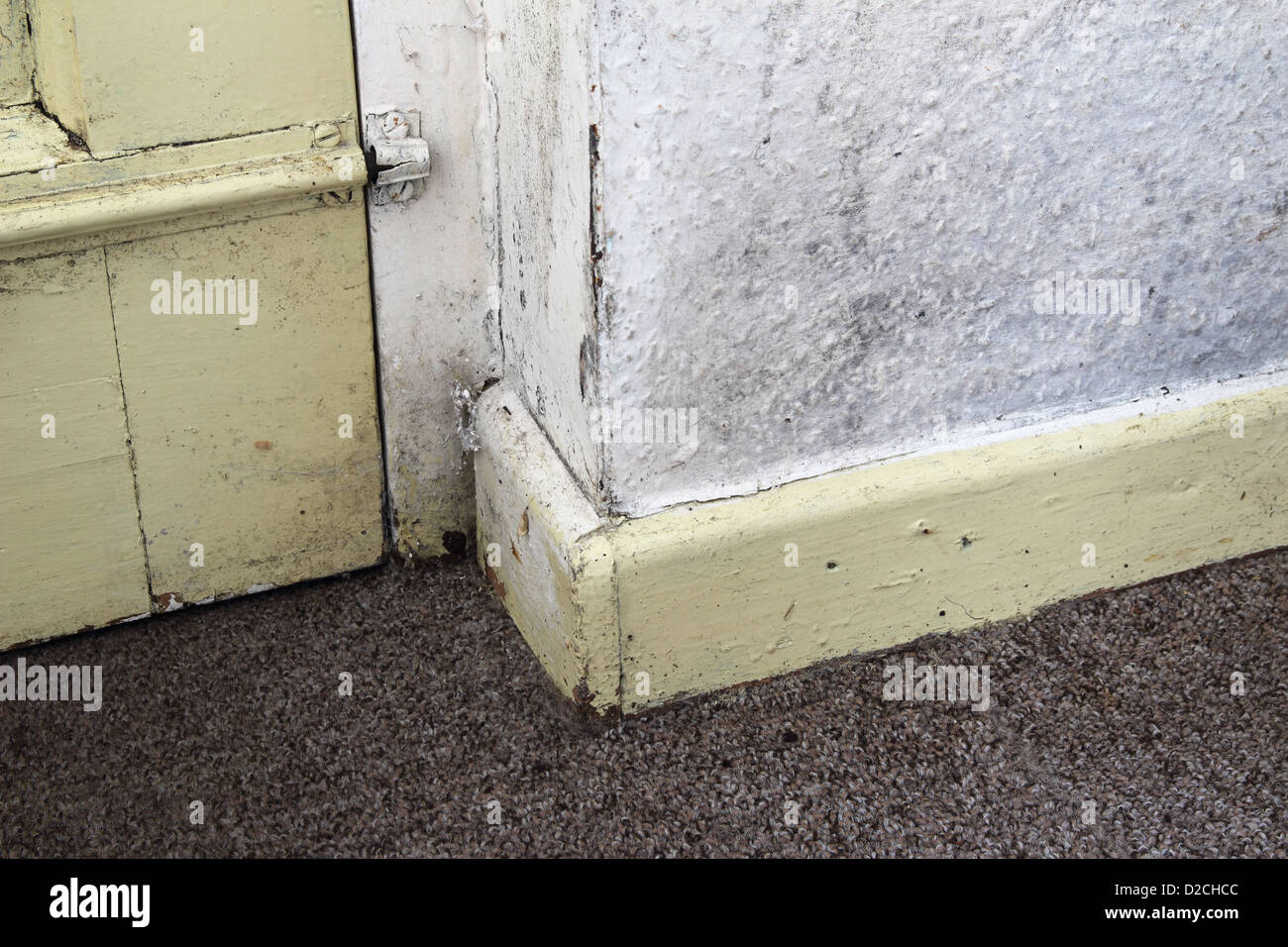 Internal Wall with Wallpaper Covering Showing Signs of Mould and Dampness, UK PROPERTY RELEASED - Stock Image