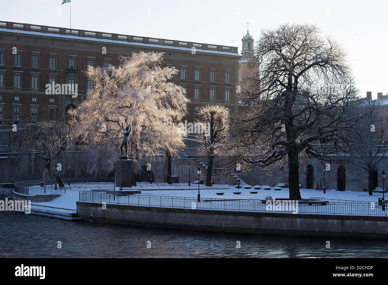 Frosty tree Roya Palace Stockholm Sweden - Stock Image