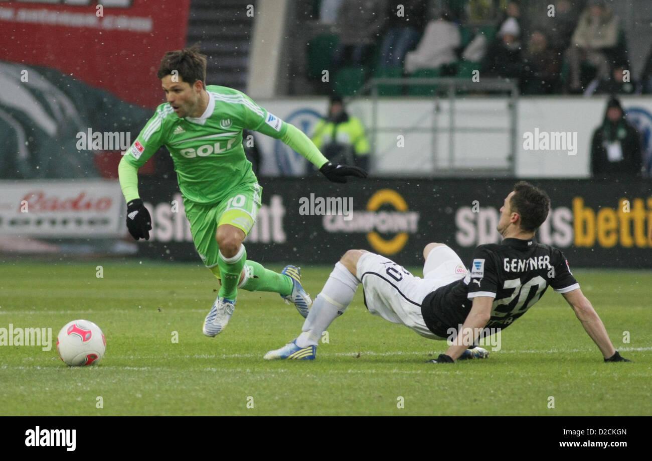 l-r:  DIEGO (VfL Wolfsburg) und Christian GENTNER (VfB Stuttgart) DEUTSCHLAND, WOLFSBURG. Fussball, 1. Bundesliga - Stock Image