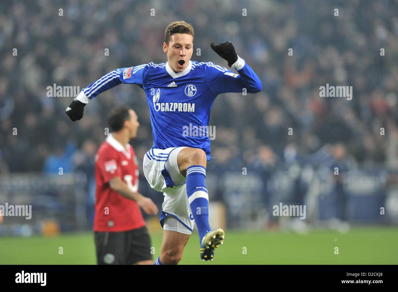Fußball 1. Bundesliga 18. Spieltag: Schalke 04 - Hannover 96 am 18.01.2013 in der Veltins-Arena in Gelsenkirchen - Stock Image