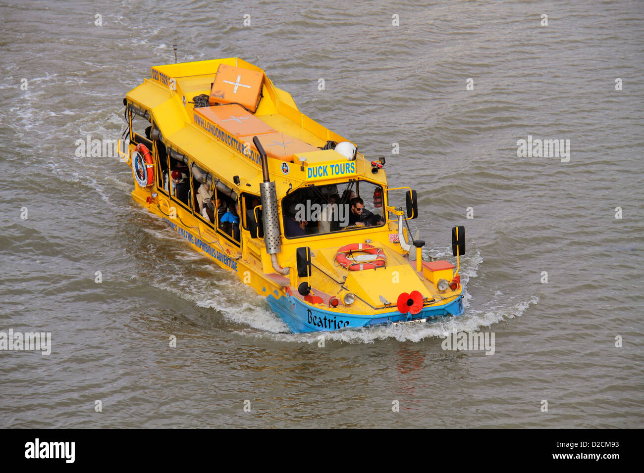 Amphibious vehicle in the river Thames as part of the Duck Tours of London, a tour on road and river of the sights - Stock Image