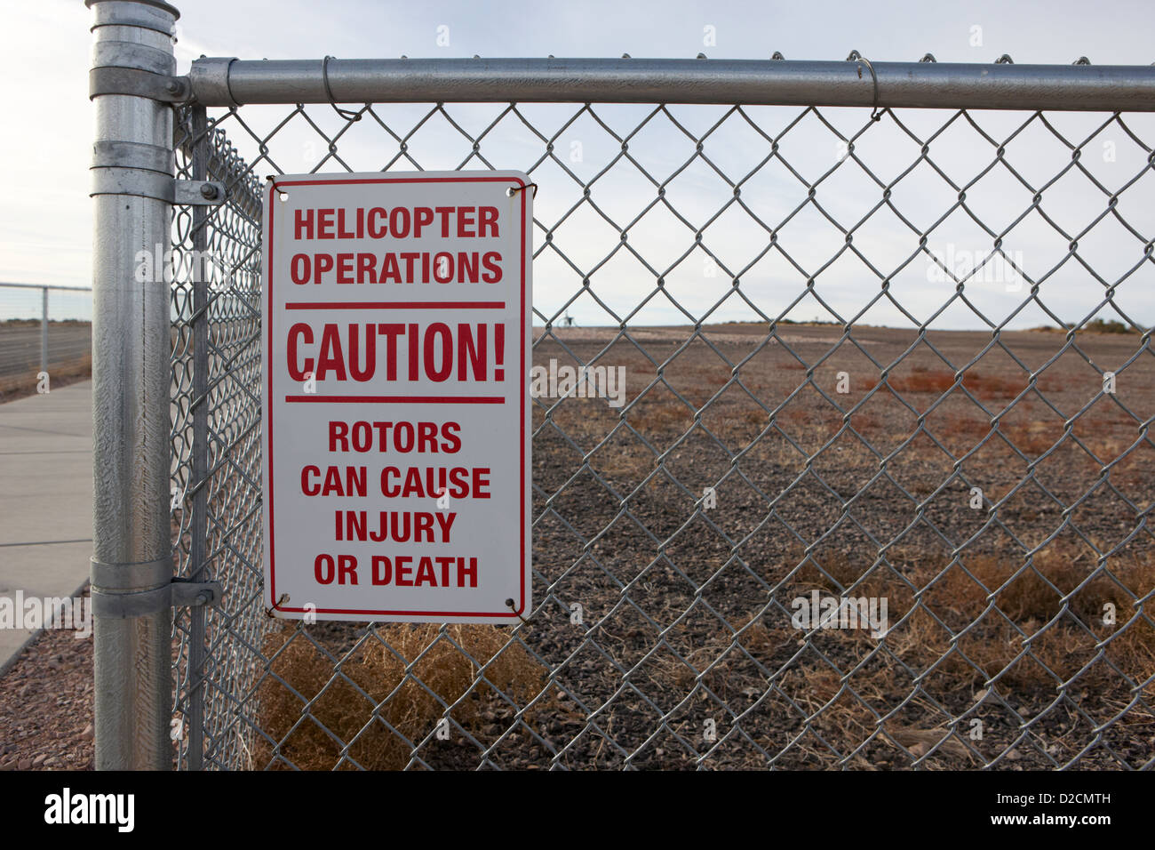 helicopter operation safety signs at Grand canyon west airport Arizona USA - Stock Image