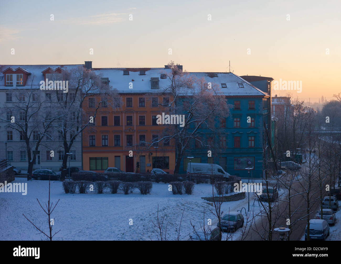 Frankfurt (Oder)'s Historic Altberesinchen District in wintertime, Brandenburg, Germany Stock Photo