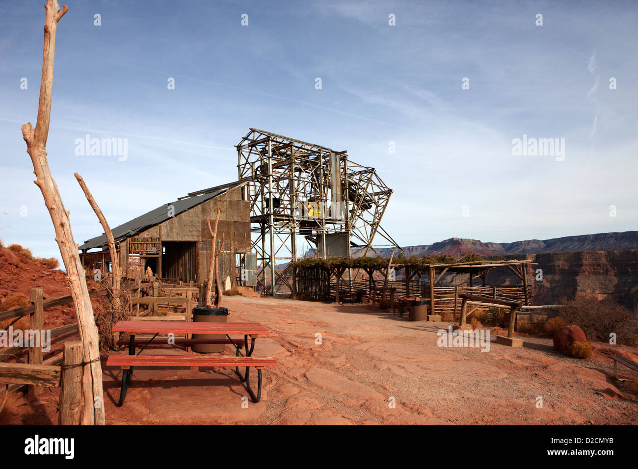 picnic area and remains of old tramway headhouse for the mine at guano point Grand Canyon west arizona usa - Stock Image
