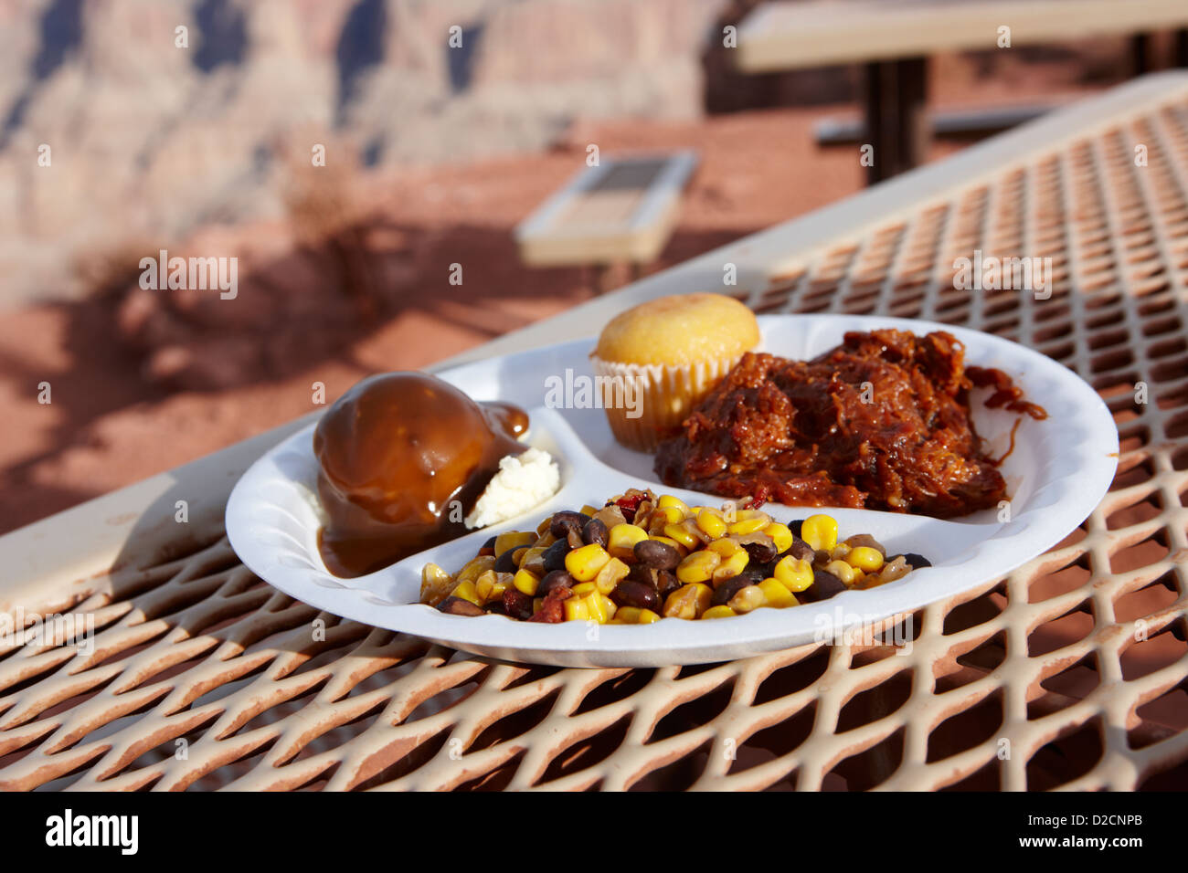 indian buffet food at guano point on the edge of the grand canyon home of the hualapai nation Arizona USA - Stock Image