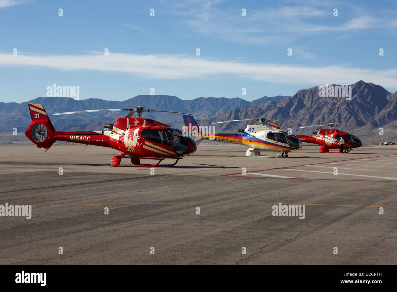 grand canyon sightseeing tours helicopters at boulder city airport terminal Nevada USA - Stock Image