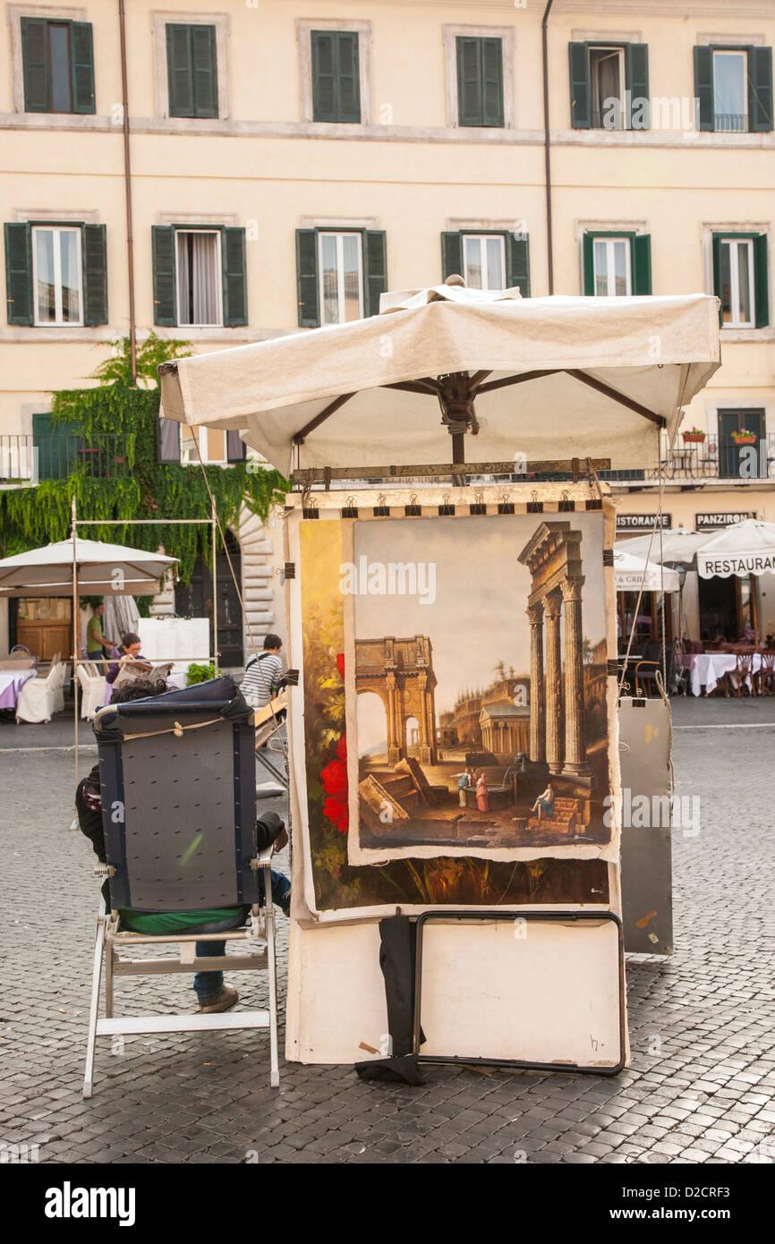 art works, Piazza Navona, Rome, Italy - Stock Image