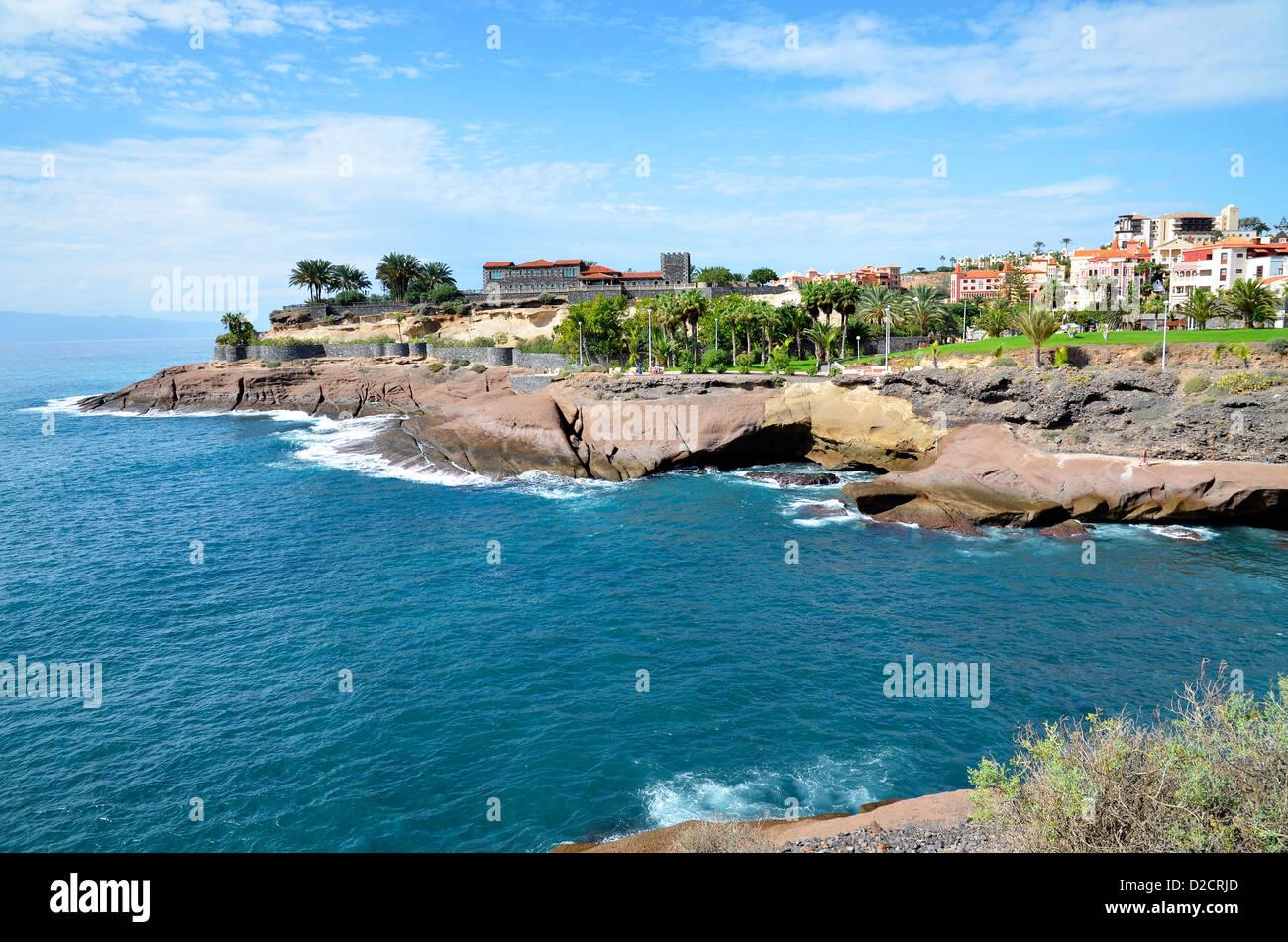 The coastline near Bahia Del Duque on the Costa Adeje in Tenerife, Canary Islands - Stock Image