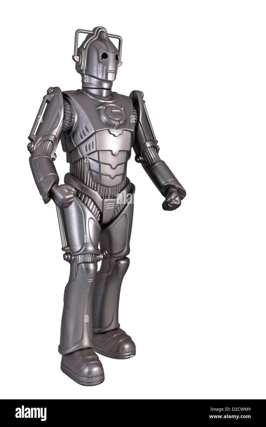Cyberman Toy from the BBC programme Dr Who isolated on white background - Stock Image