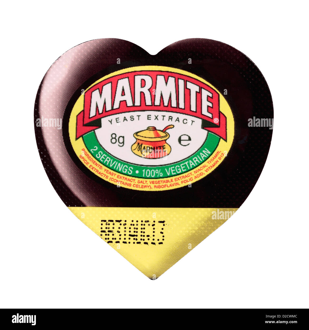Small Heart Shaped Individual Portion Marmite Tub isolated on white background - Stock Image