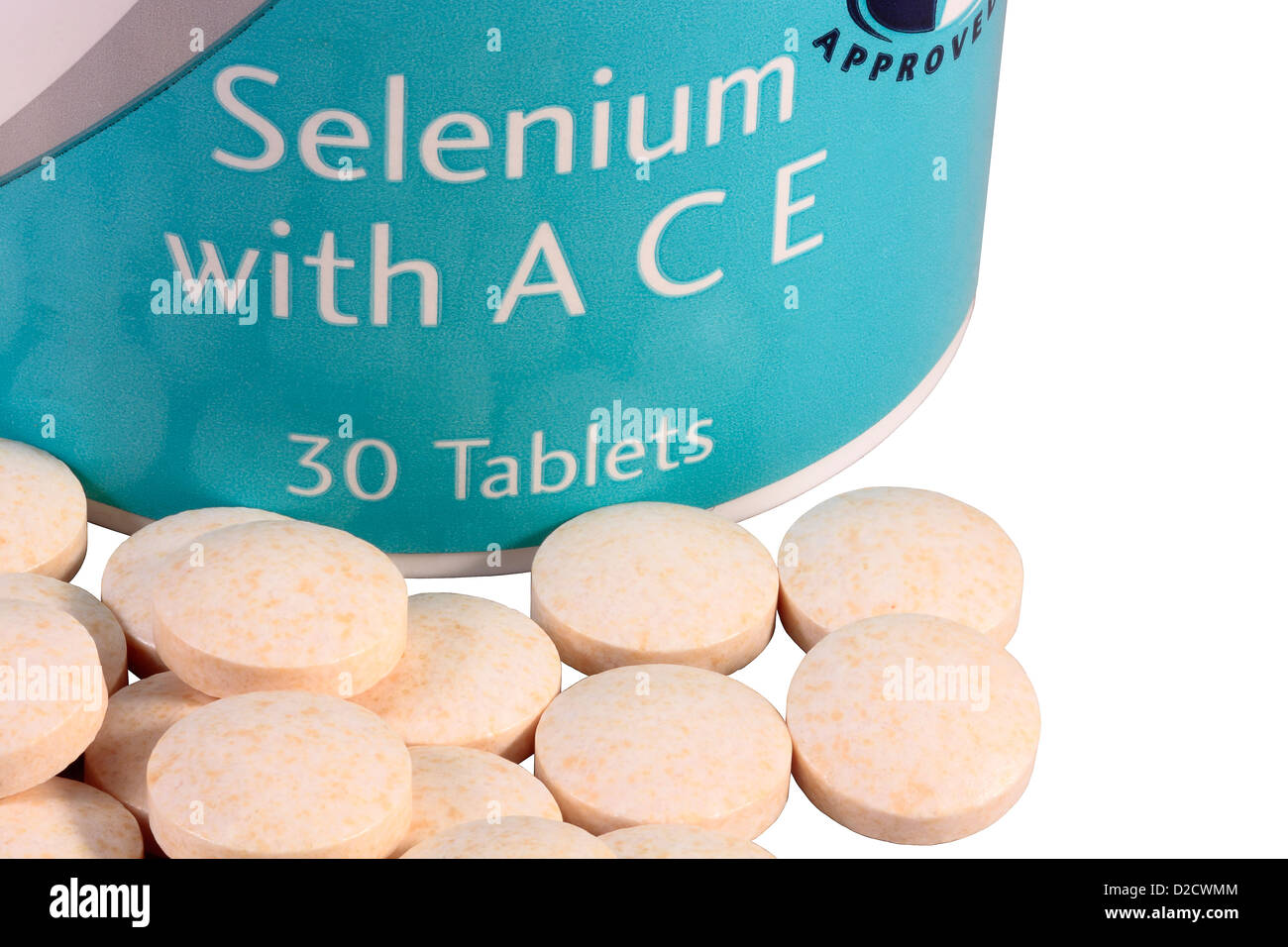 Selenium ACE tablets isolated on white background - Stock Image
