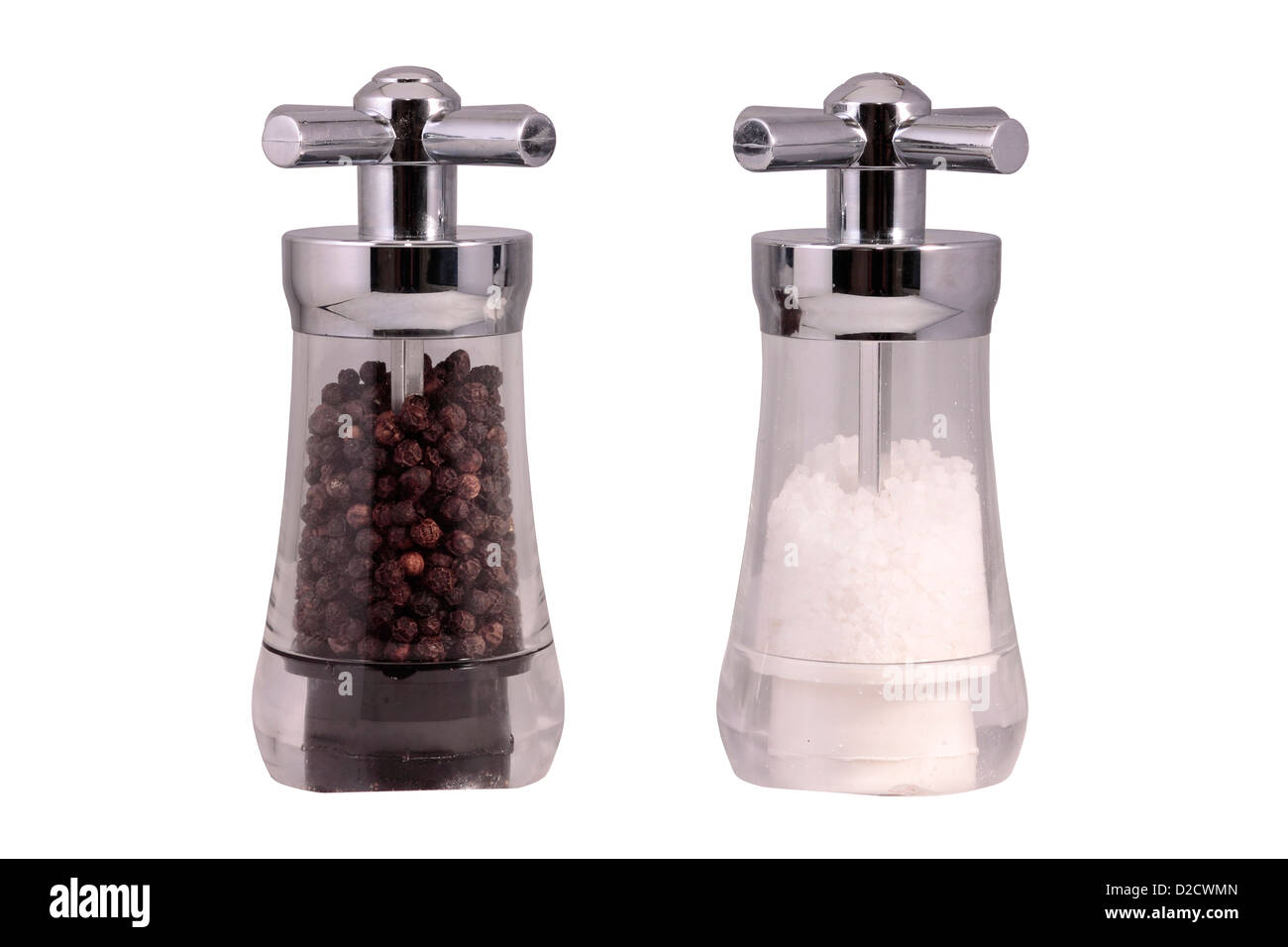 Salt and Pepper Mill isolated on white background - Stock Image
