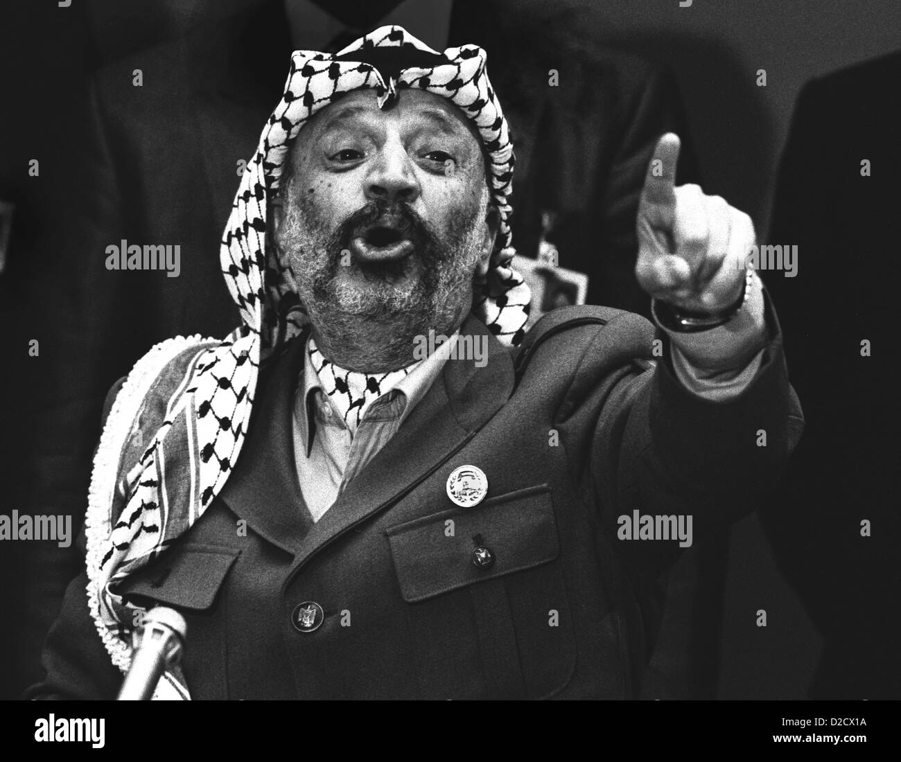 December 1988. Palestinian Leader Yasser Arafat pictured at the United Nations Geneva. - Stock Image