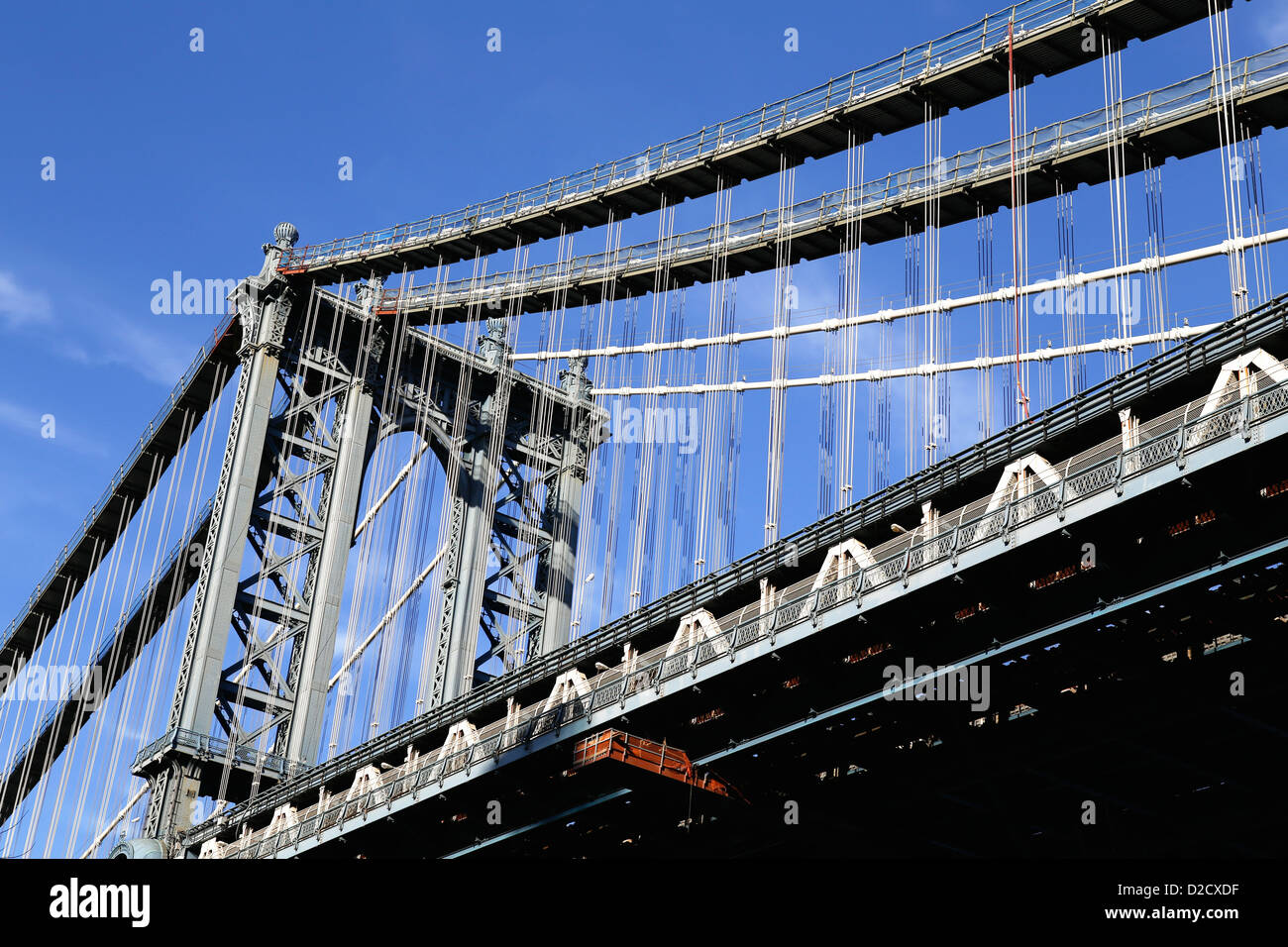 Looking Up at the Manhattan Bridge, Connecting Brooklyn and Manhattan Boroughs in New York City - Stock Image
