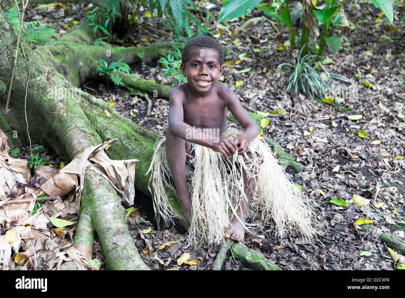 Micronesian Boy, Tanna Island, Vanuaty, South Pacific - Stock Image