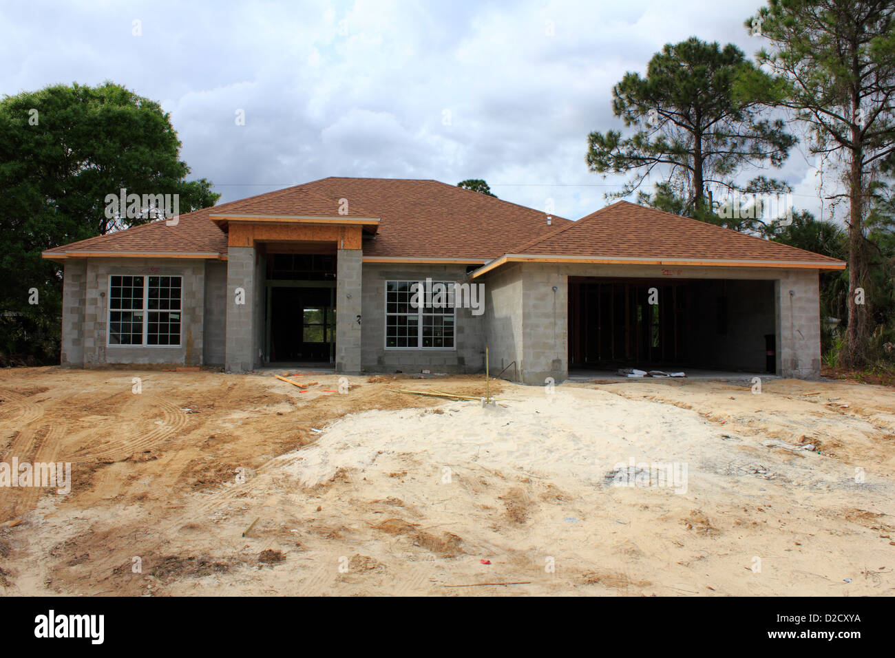 A Typical 3 Bedroom 2 Bath Cement Block Construction Home House Being Built  In Florida, USA