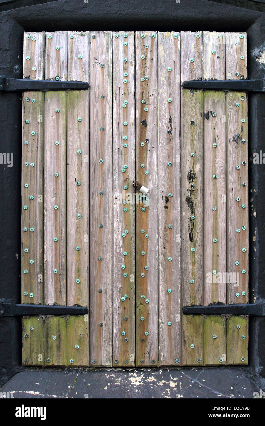 An Old Locked Wooden Door Entry To Fort Moultrie In South Carolina