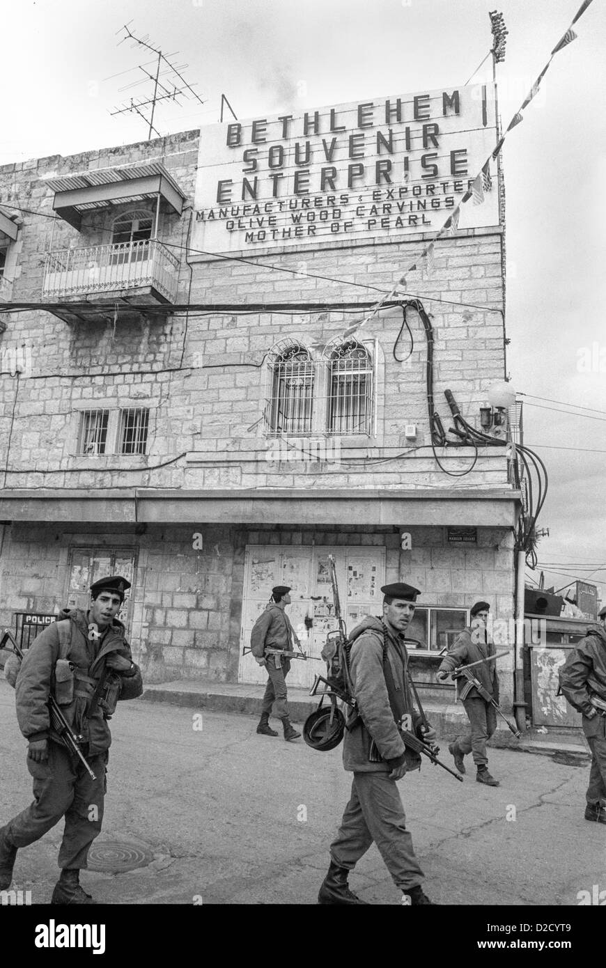 1988 Israeli Defense force patrolling Bethlehem at the start of the Palestinian Intifada. - Stock Image