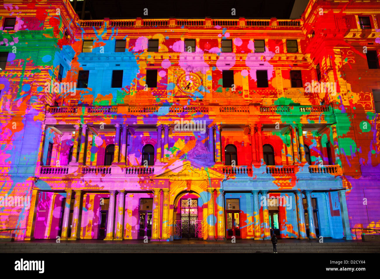 Vivid Sydney 2011 light show  Sydney Customs House projection light show 'Unfamiliar Customs' on the iconic sandstone Stock Photo