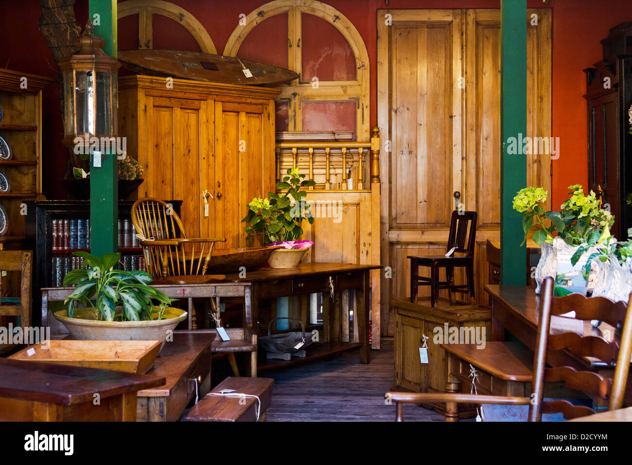 Interior view of an antique furniture store in Summerland, near Santa Barbara,  California - Stock Image