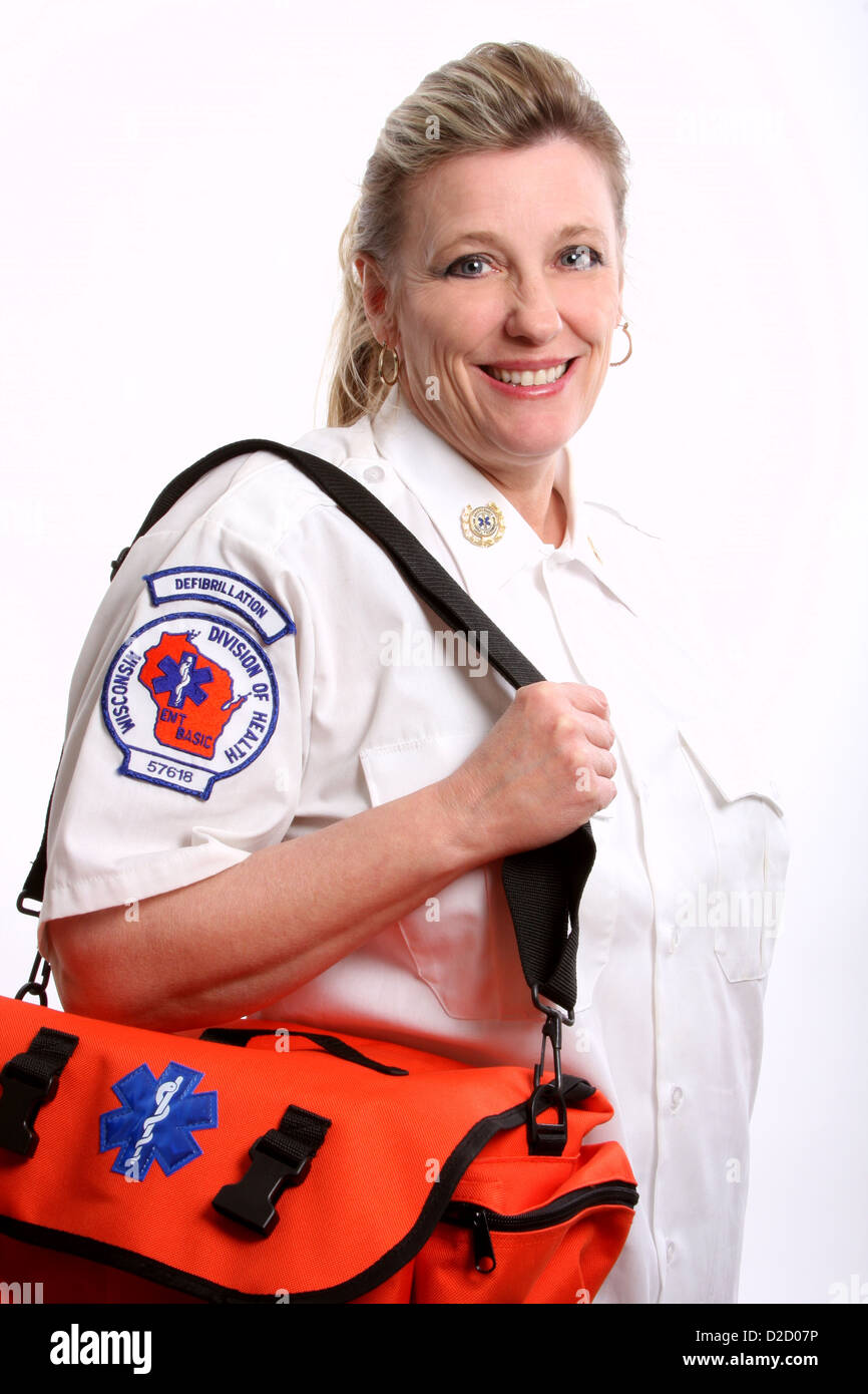 A Wisconsin EMT with a medical bag - Stock Image