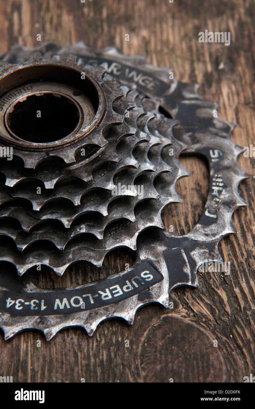 High level of wear after 14000kms use on touring cycle on Shimano super low screw on 7 speed freewheel - Stock Image