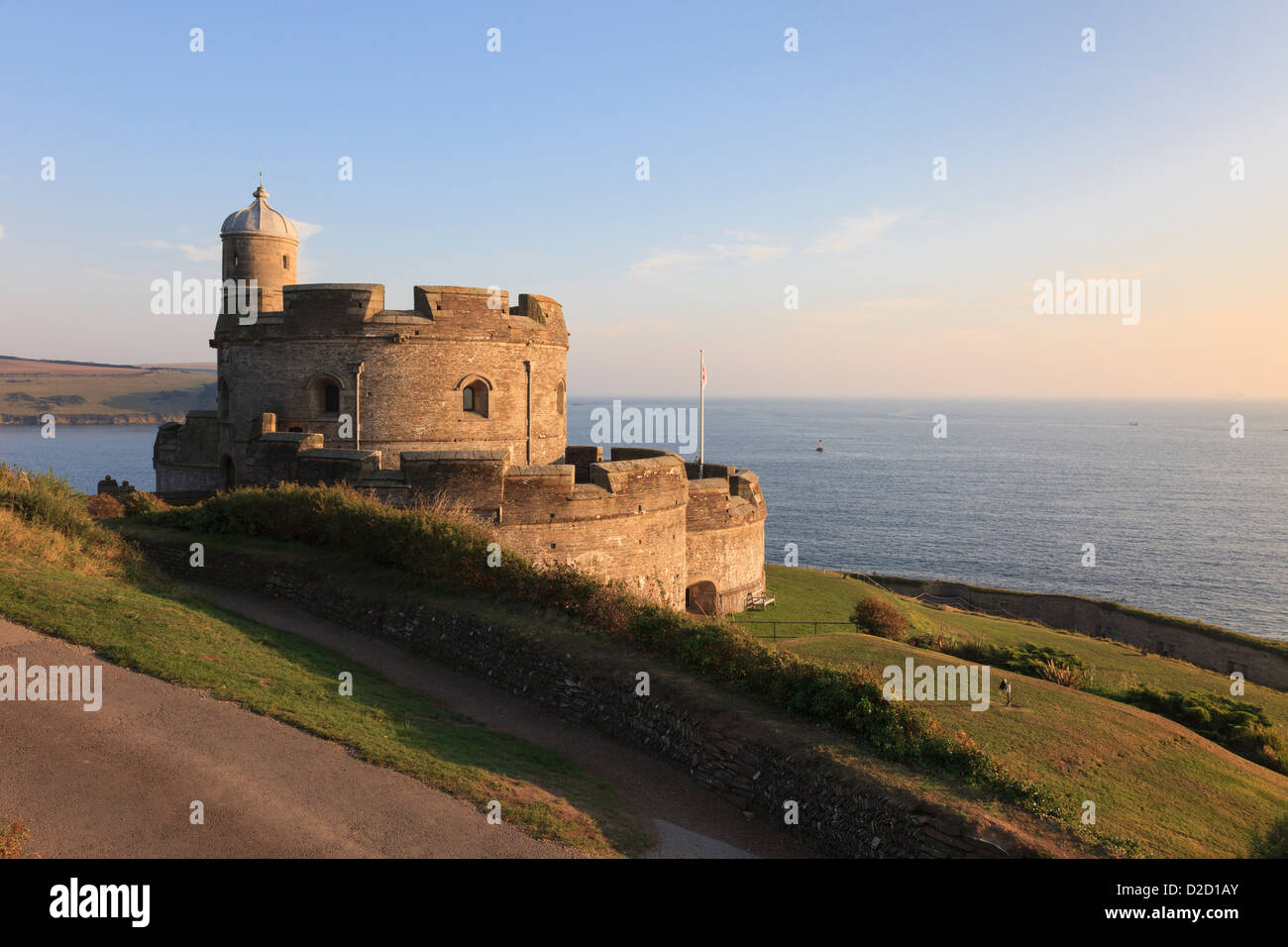 View of Tudor castle overlooking Falmouth Bay in evening sunshine on Cornish south coast at St Mawes Cornwall England - Stock Image