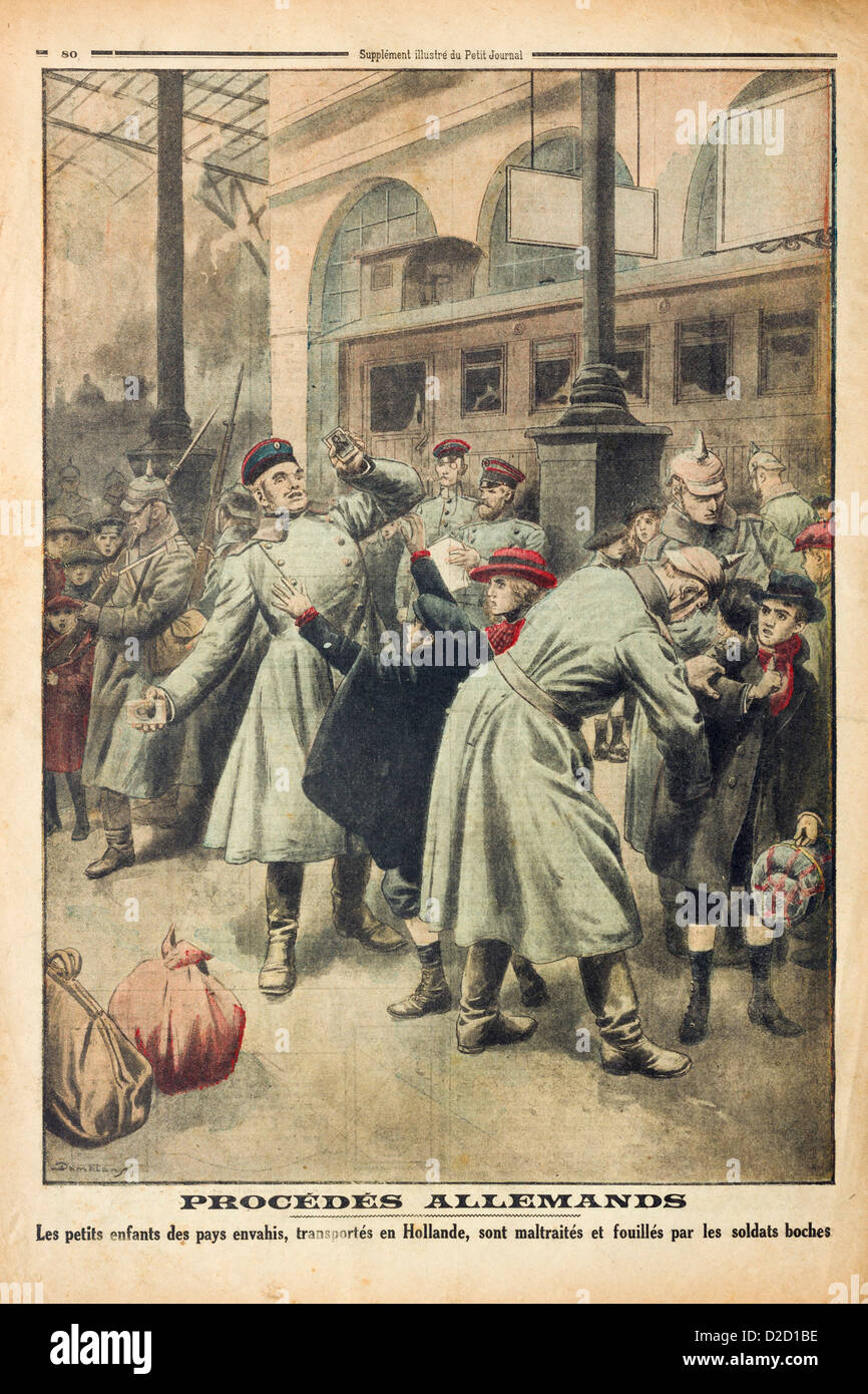 Le Petit Journal Illustrated Supplement (11-03-17): Back cover showing poor treatment of children being evacuated - Stock Image