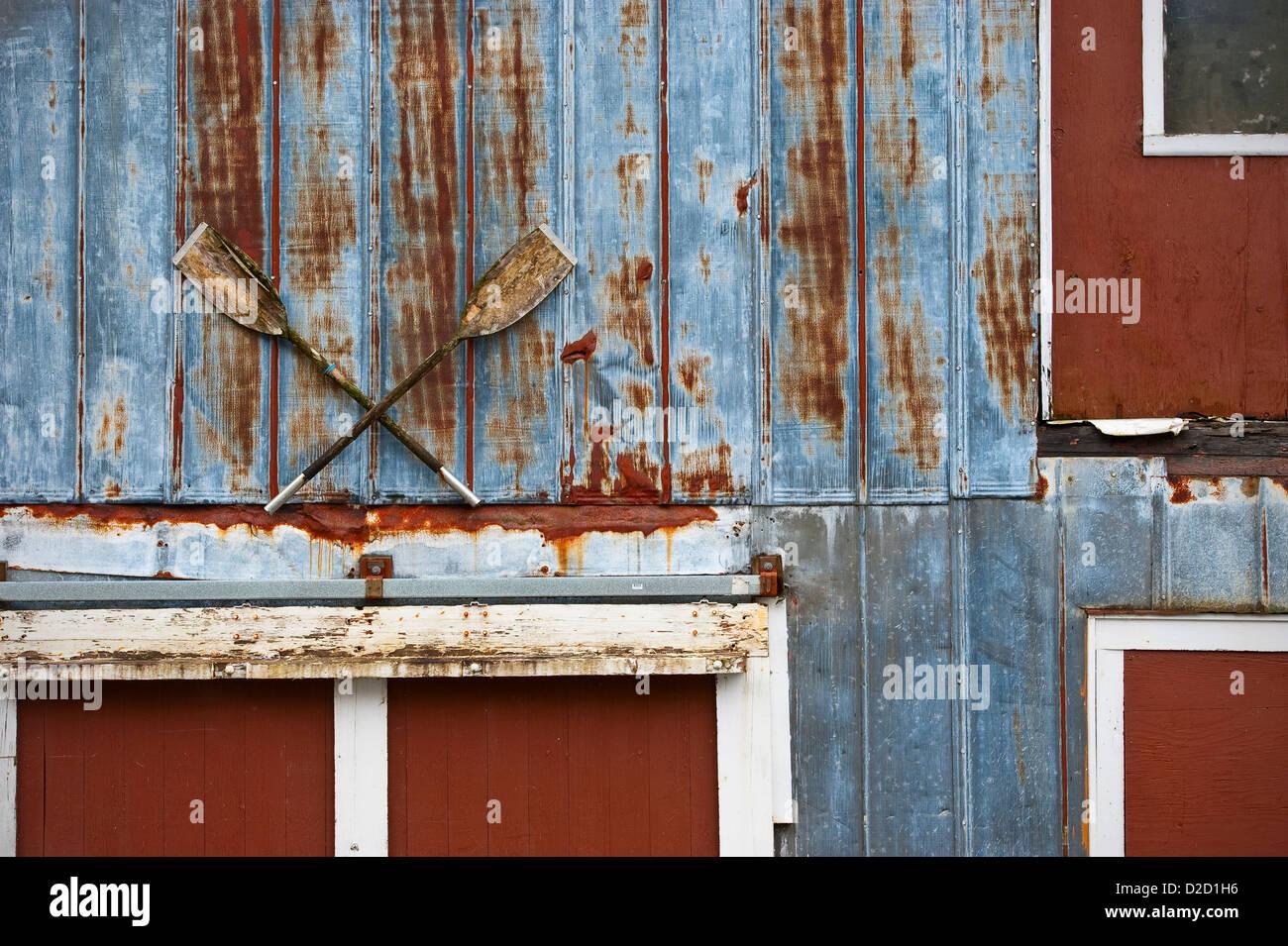 Sheldon Jackson boat house detail of doors with canoe paddle decoration in Sitka Alaska USA & Sheldon Jackson boat house detail of doors with canoe paddle Stock ...