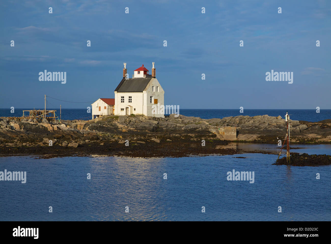 Old lighthouse building in Sorland on Lofoten islands in Norway - Stock Image