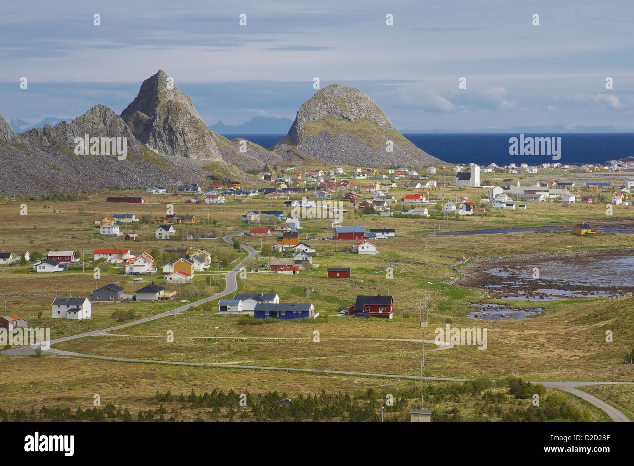 Picturesque town Sorland on Lofoten islands in Norway - Stock Image