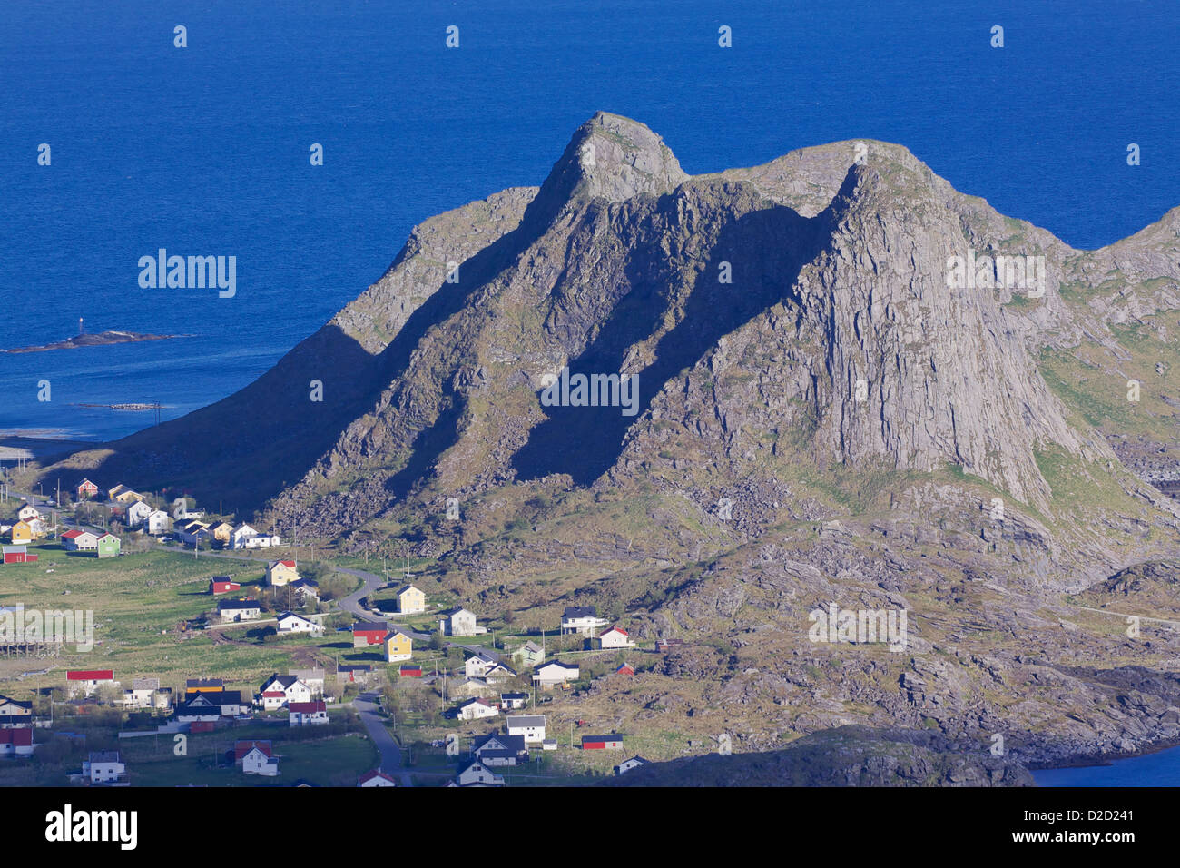 Aerial view of picturesque town Sorland on Lofoten islands in Norway - Stock Image