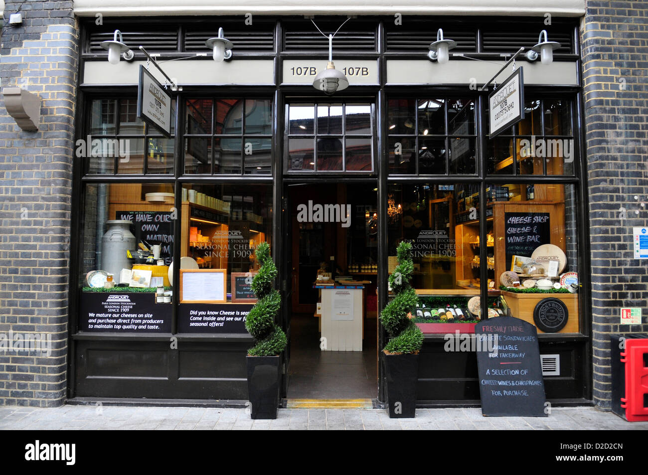 Exterior of Androuet Cheese Shop, Spitalfields Market, East London, England UK - Stock Image