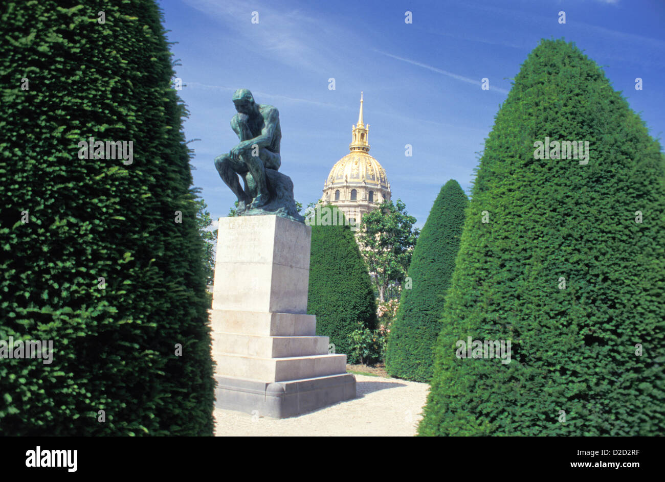 France, Paris. Rodin Museum. The Thinker, With The Invalides' Dome Church Behind. - Stock Image