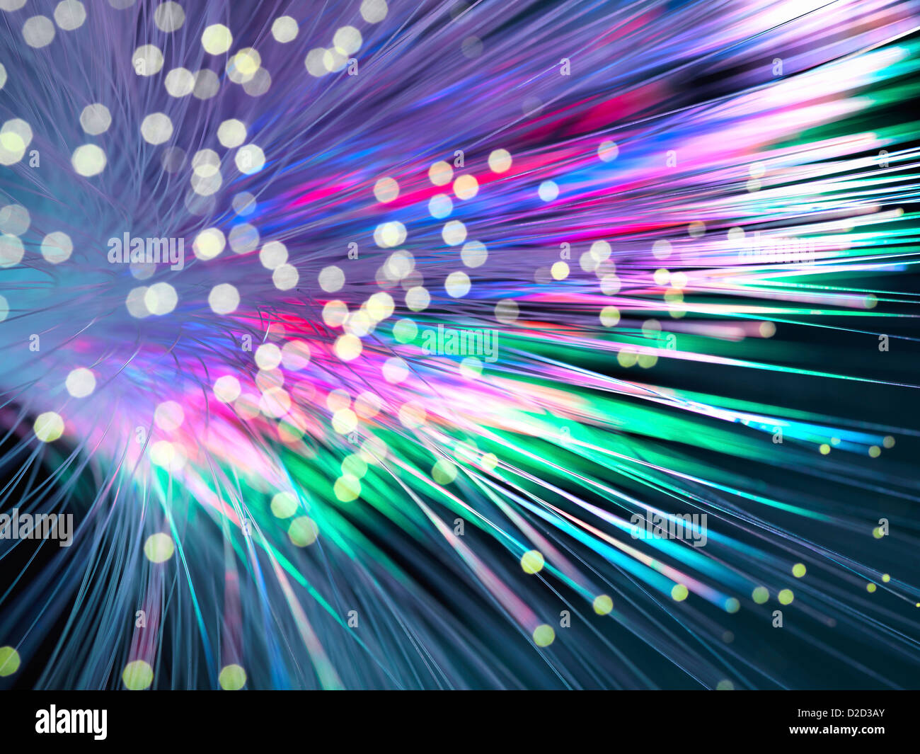 Optical fibres emitting light Optical fibres are used in telecommunications to transmit data at high speed - Stock Image