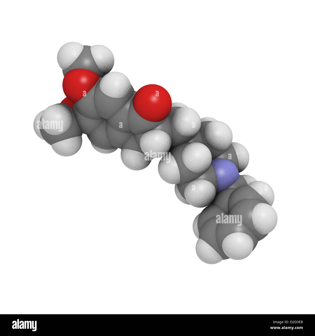 Donepezil Alzheimer's drug acts to inhibit the enzyme acetylcholinesterase Atoms spheres colour-coded Stock Photo