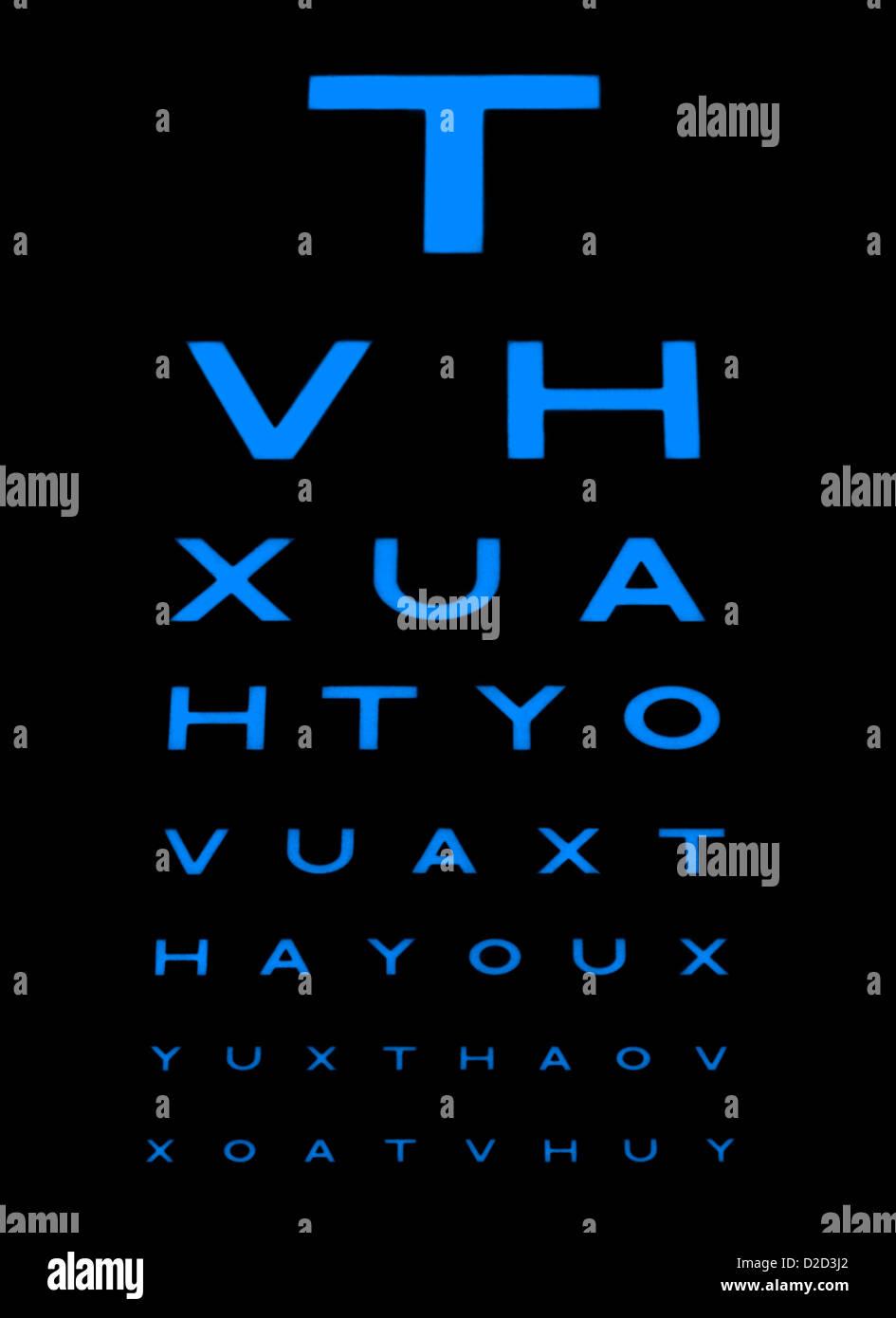 Eyesight test chart - Stock Image