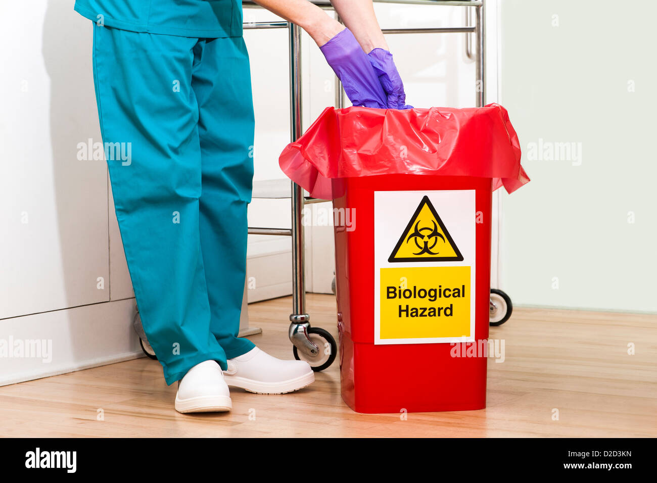 MODEL RELEASED Clinical waste disposal - Stock Image