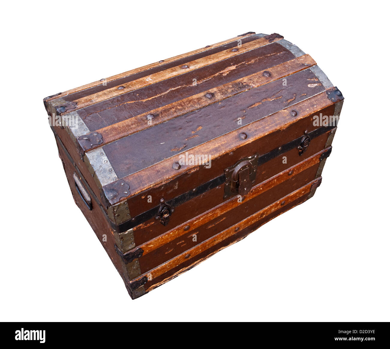 old and worn tatty traditional antique wooden chest grungy looking - Stock Image