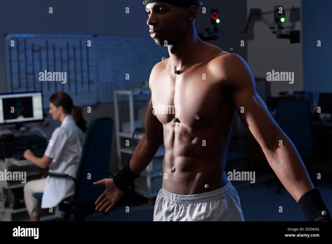 MODEL RELEASED Biomechanics lab Cameras mounted around the lab will record the athletes movements - Stock Image