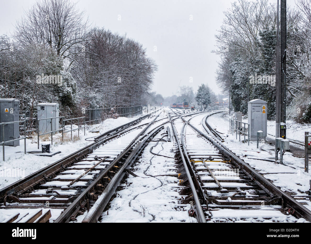 Snow covered railway lines at the Strawberry Hill Rail Station after a winter snow fall<snow on the tracks - - Stock Image