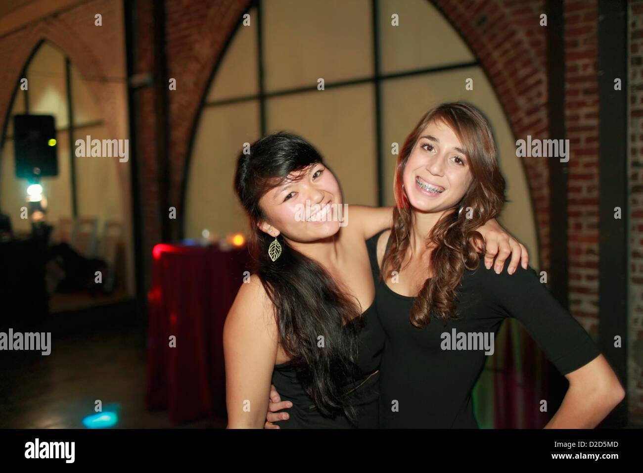 Teenage girls at birthday party - Stock Image