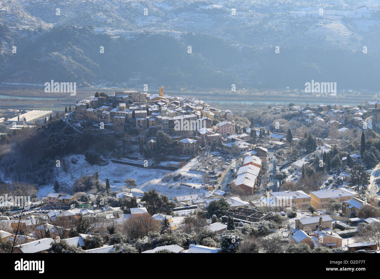 The French Riviera village of Gattières under the snow Stock Photo
