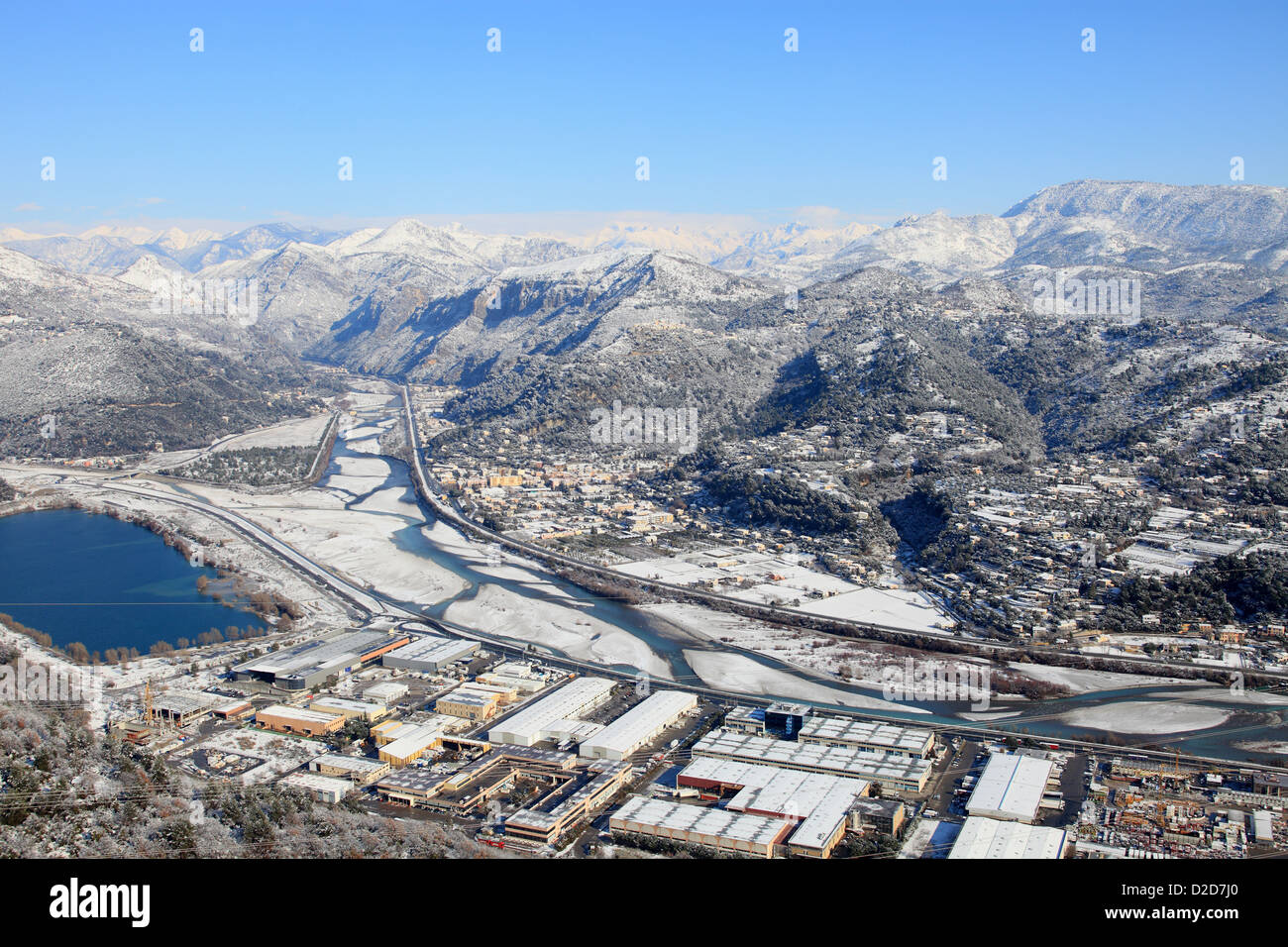 Aerial view of the Var valley under the snow Stock Photo