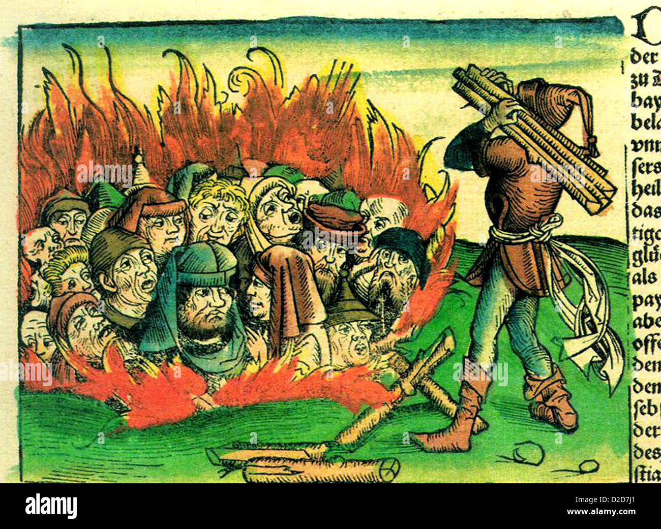 JEWISH DOCTORS burnt alive during the Black Death from the World History  by German physician Hartmann Schedel in - Stock Image