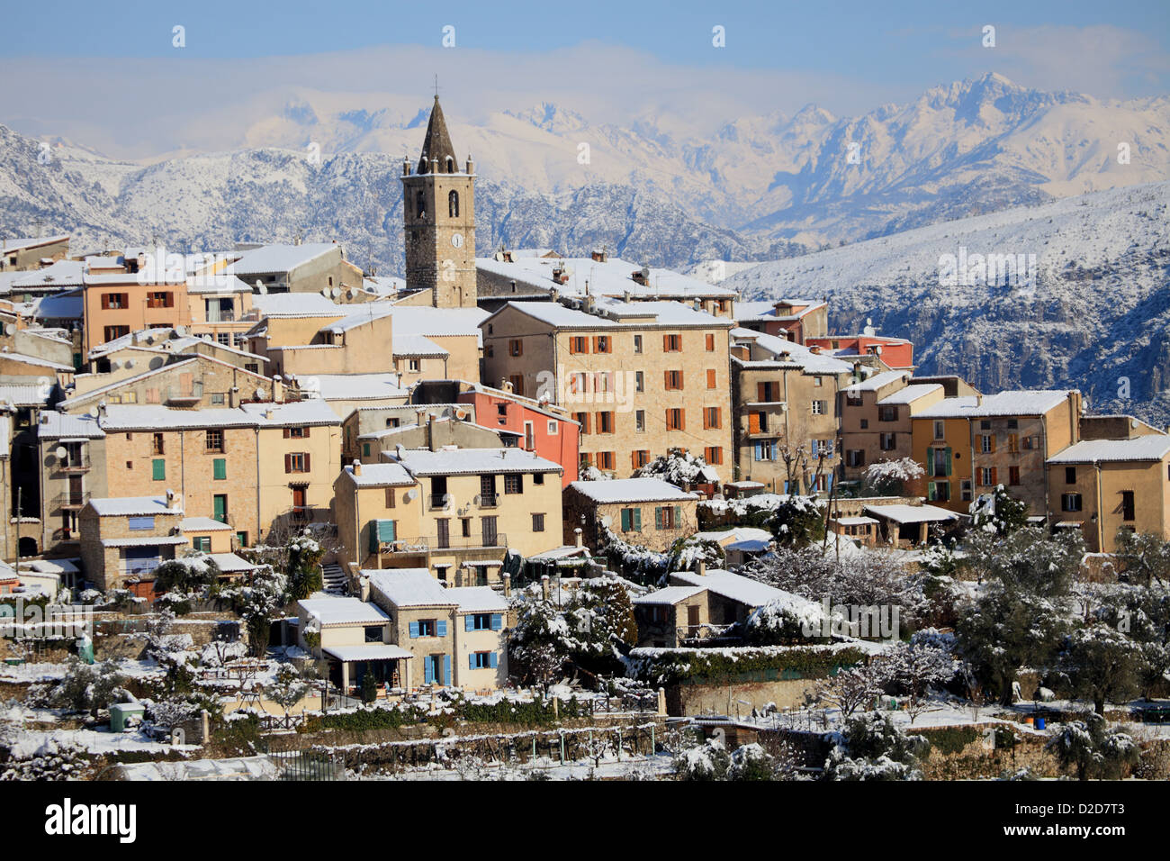 The French Riviera under the snow Stock Photo