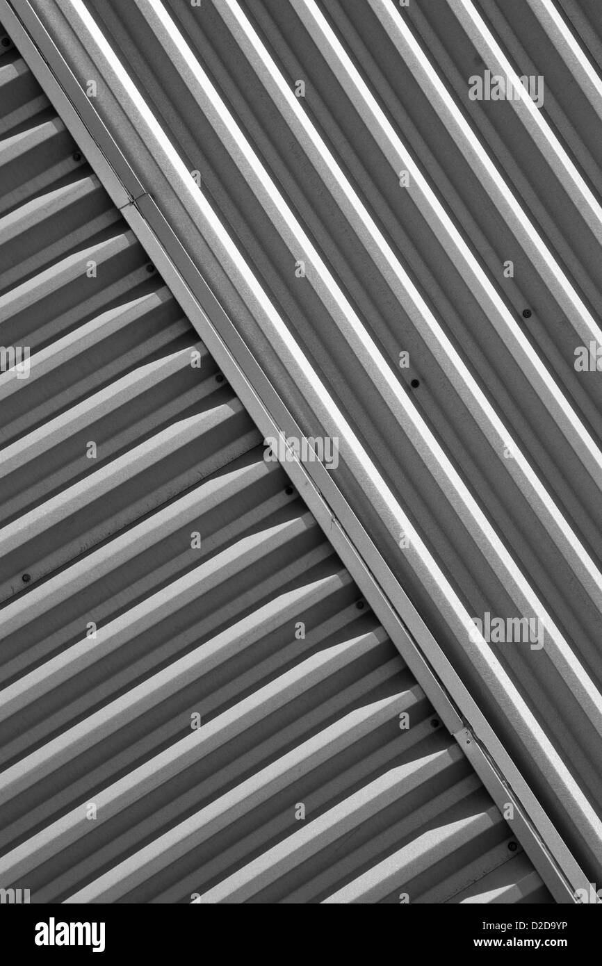 Sheet metal siding on a building. - Stock Image